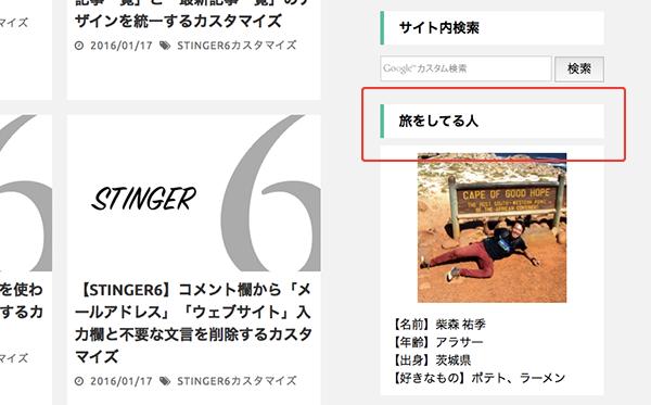 「stinger6」サイドバー見出しカスタマイズ