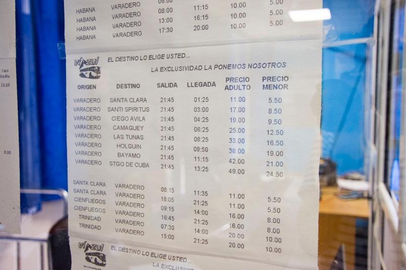 【バラデロ】ビアスールのバス時刻・料金表