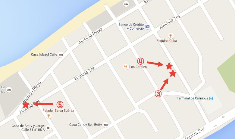 【キューバ】バラデロの格安レストラン地図