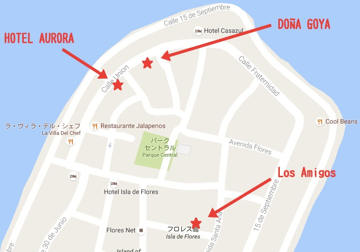 フローレスの安宿地図