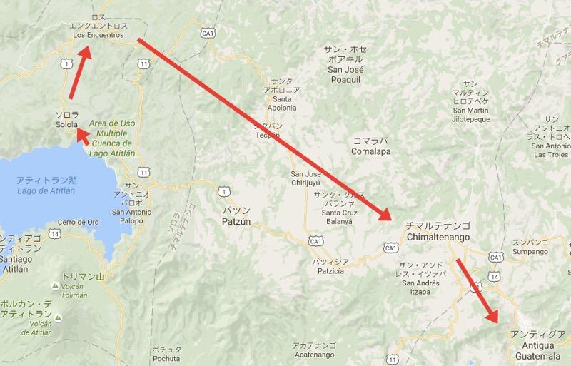 パナハッチェル→アンティグアのチキンバスルート