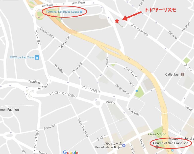 ラパス|バスターミナルの地図