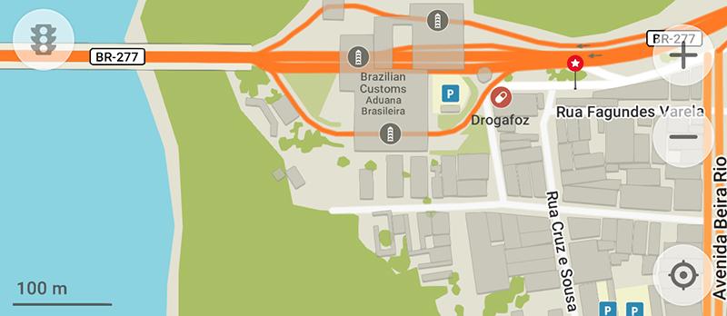 フォス・ド・イグアス→プエルト・イグアスのバス乗り場